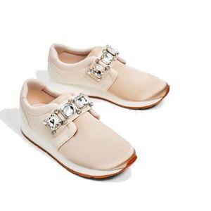 Zara blush Satin gym shoes